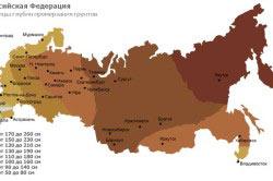 Нормативная глубина промерзания грунта в городах России