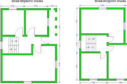 Схема двухэтажного дома размером 6х8 м
