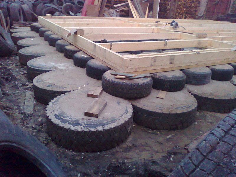 Фундамент из колес