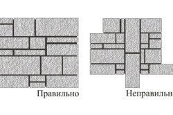 Схема правильной и неправильной кладки натурального камня