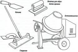 Инструменты для приготовления бетона.