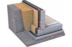 пример, при котором фундамент защищается двухслойной системой гидроизоляции