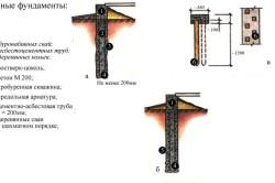 Схемы свайных фундаментов из различных материалов.