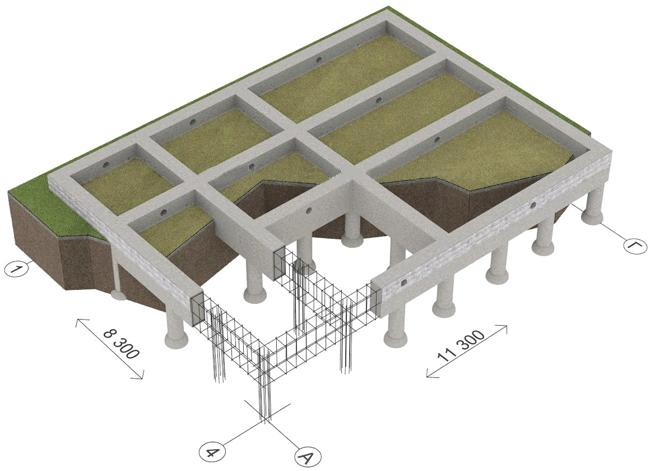 Схема армированного монолитного ленточного фундамента