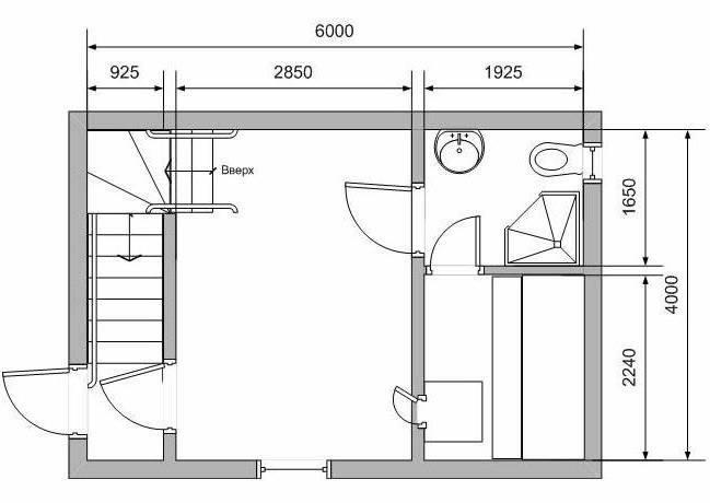 Схема чертежа бани с мансардой